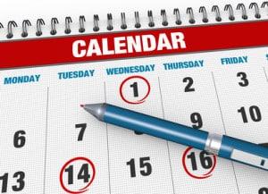 Closeup calendar page