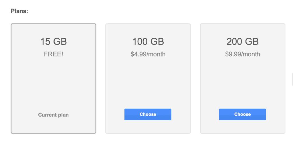 Google Drive Costs
